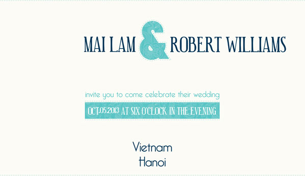 Kết hợp sắc màu ở thiệp cưới tự thiết kế