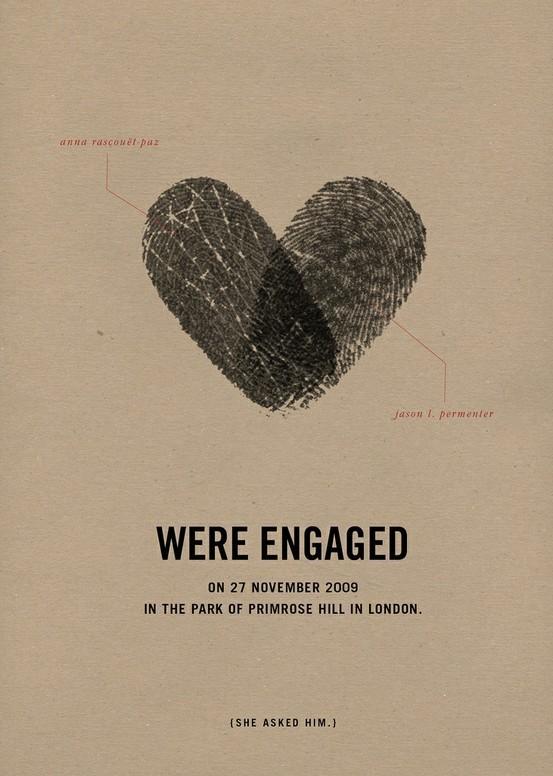 Tấm thiệp cưới đơn giản nhưng ý nghĩa lại vô cùng với dấu vân tay hình trái tim của hai bạn