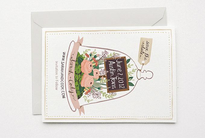 Thiệp cưới postcard hình hoa lá dịu dàng