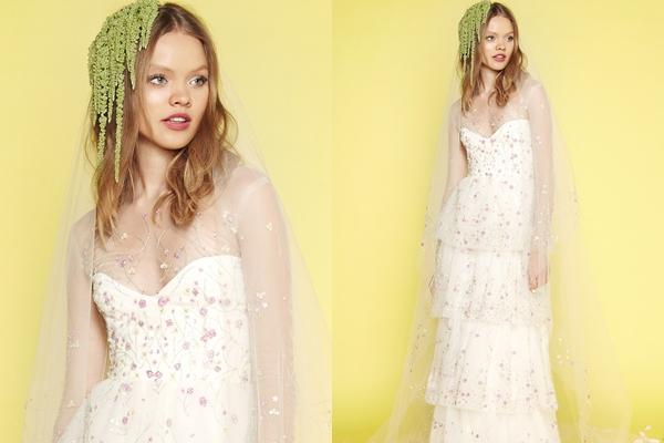 Váy cưới trắng kết hợp thổ cẩm của Sabrina Dahan